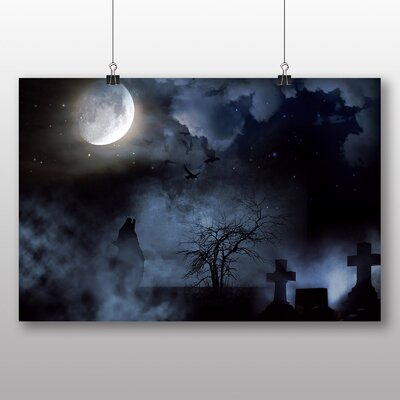 Big Box Art Wolf Howling in Cemetary Graphic Art