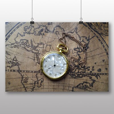 Big Box Art Vintage Pocket Watch and World Map No.1 Photographic Print