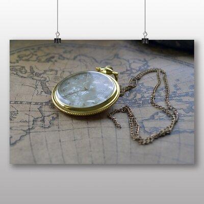 Big Box Art Vintage Pocket Watch and World Map No.2 Photographic Print