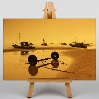 Big Box Art Sunset Beach Boats No.1 Photographic Print Wrapped on Canvas