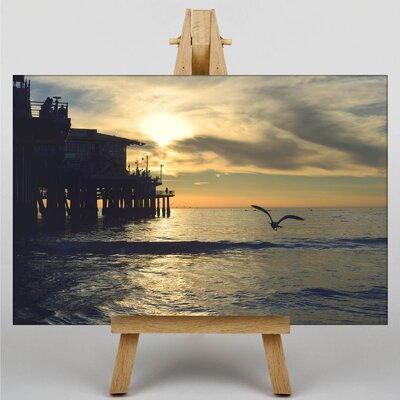 Big Box Art Seagull by the Pier Photographic Print Wrapped on Canvas