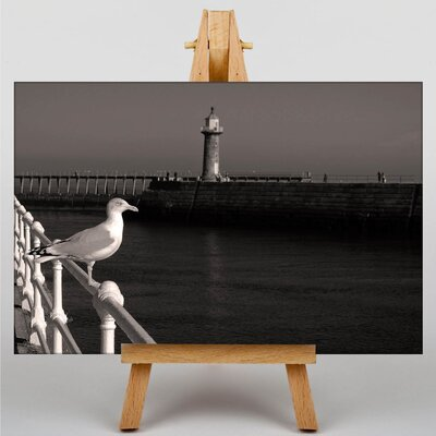 Big Box Art Seagull on Pier Photographic Print Wrapped on Canvas