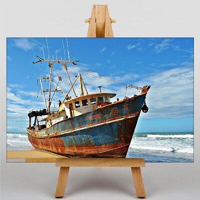 Big Box Art Ship Wreck on Beach No.4 Photographic Print on Canvas