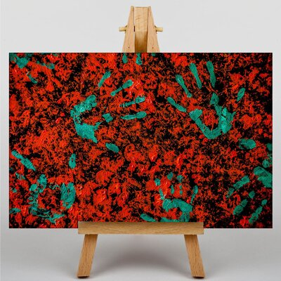 Big Box Art Hand Print Red Green pain Abstract No.2 Graphic Art Wrapped on Canvas