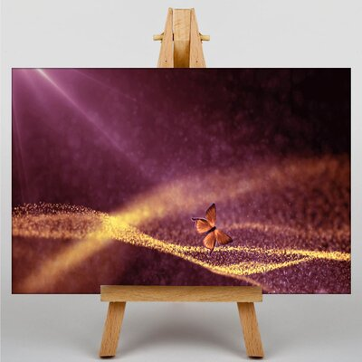 Big Box Art Pink Purple Fractal Abstract with Butterfly Graphic Art Wrapped on Canvas