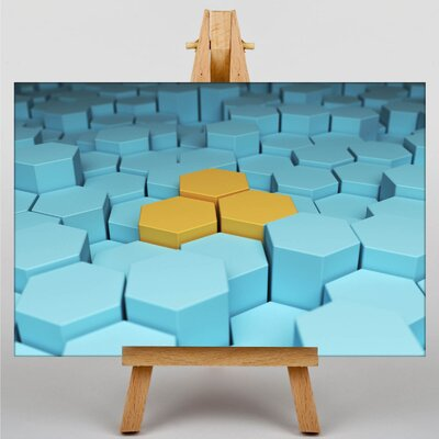Big Box Art Hexagon Abstract Graphic Art Wrapped on Canvas