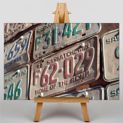 Big Box Art Vintage Classic Car License Plates Photographic Print Wrapped on Canvas
