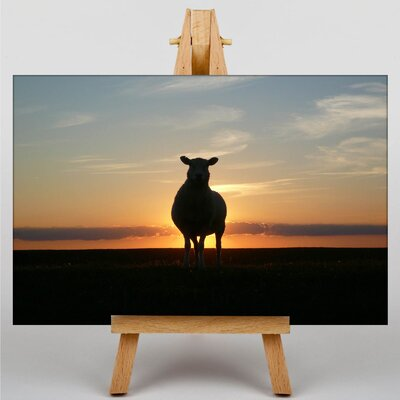 Big Box Art Sunset and Sheep Photographic Print Wrapped on Canvas