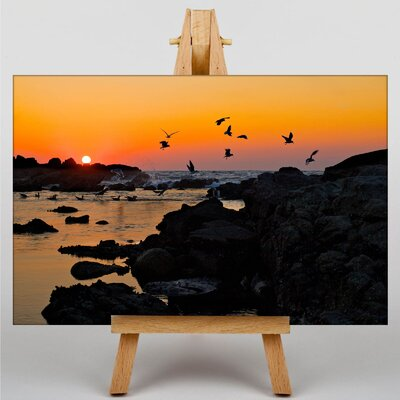 Big Box Art Baiona Spain Sunset Photographic Print Wrapped on Canvas