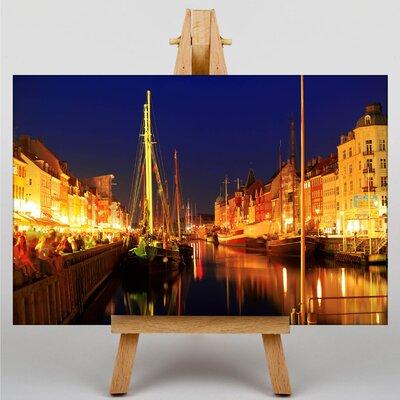 Big Box Art Copenhagen Canal at Night Denmark Photographic Print on Canvas