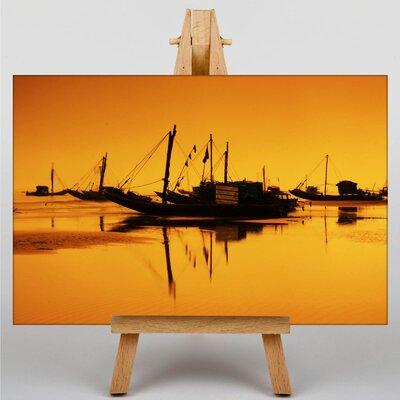 Big Box Art Sunset Beach Boats No.2 Photographic Print on Canvas