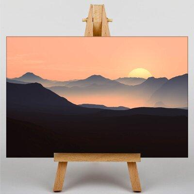 Big Box Art Evening Sunset Mountain Photographic Print on Canvas