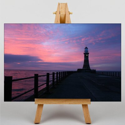 Big Box Art Pier Jetty Sea Lighthouse Photographic Print Wrapped on Canvas