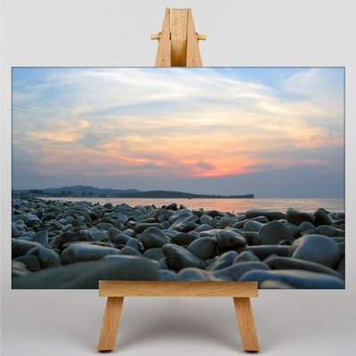 Big Box Art Pebbles and Sea Beach Photographic Print on Canvas
