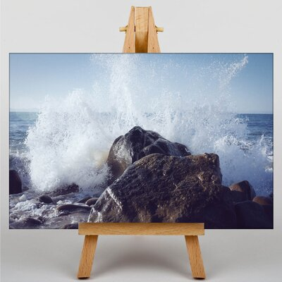 Big Box Art Wave Against the Rock Photographic Print on Canvas