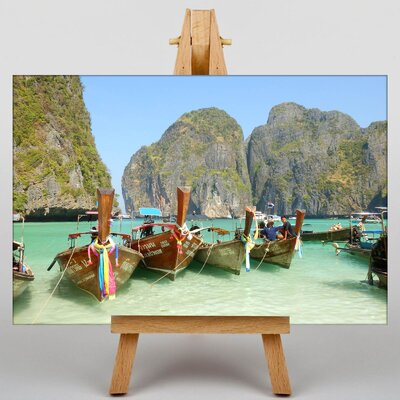Big Box Art Boats Tropical Island Photographic Print on Canvas