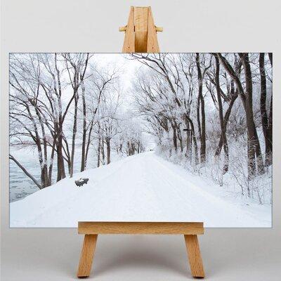 Big Box Art Winter Road Photographic Print Wrapped on Canvas