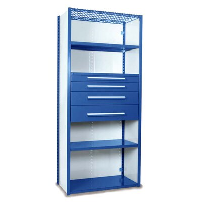 """V-Grip 84"""" Shelving with Drawers Unit - 4Drw/5Shelf Closed Starter, 4 drawers - 3"""",4.5"""", 6"""", 7.5"""" H; 400 lb capacity Size: 84"""" H x 36"""" W x 18"""" D, Finish: Textured Blue"""