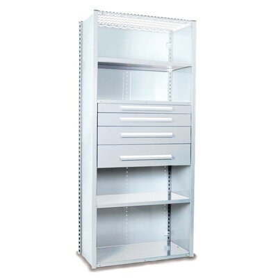 """V-Grip 84"""" Shelving with Drawers Unit - 4Drw/5Shelf Closed Starter, 4 drawers - 3"""",4.5"""", 6"""", 7.5"""" H; 200 lb capacity Size: 84"""" H x 36"""" W x 18"""" D, Finish: Smooth White"""