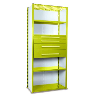 """V-Grip 84"""" Shelving with Drawers Unit - 4Drw/5Shelf Closed Starter, 4 drawers - 3"""",4.5"""", 6"""", 7.5"""" H; 400 lb capacity Finish: Textured Safety Yellow, Size: 84"""" H x 36"""" W x 24"""" D"""