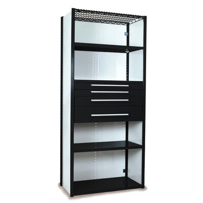 """V-Grip 84"""" Shelving with Drawers Unit - 4Drw/5Shelf Closed Starter, 4 drawers - (2) 3"""", 4.5"""" & 7.5"""" H; 200 lb capacity Finish: Textured Black, Size: 84"""" H x 36"""" W x 18"""" D"""