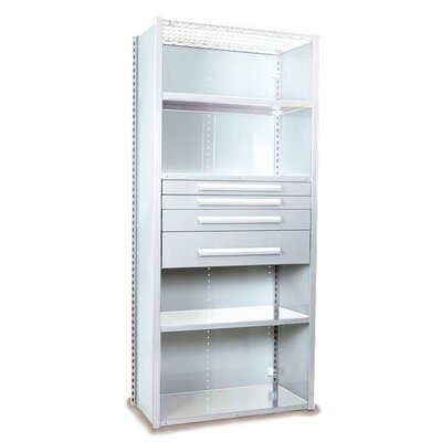 """V-Grip 84"""" Shelving with Drawers Unit - 4Drw/5Shelf Closed Starter, 4 drawers - (2) 3"""", 4.5"""" & 7.5"""" H; 200 lb capacity Finish: Smooth White, Size: 84"""" H x 36"""" W x 18"""" D"""