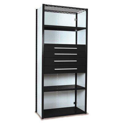 """V-Grip 84"""" Shelving with Drawers Unit - 4Drw/5Shelf Closed Starter, 4 drawers - (2) 4.5"""" & (2) 6"""" H; 400 lb capacity Finish: Textured Black, Size: 84"""" H x 48"""" W x 18"""" D"""