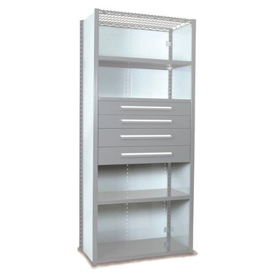 """V-Grip 84"""" Shelving with Drawers Unit - 4Drw/5Shelf Closed Starter, 4 drawers - (2) 4.5"""" & (2) 6"""" H; 400 lb capacity Finish: Textured Light Gray, Size: 84"""" H x 36"""" W x 18"""" D"""