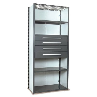 """V-Grip 84"""" Shelving with Drawers Unit - 4Drw/5Shelf Closed Starter, 4 drawers - (2) 4.5"""" & (2) 6"""" H; 200 lb capacity Finish: Textured Green, Size: 84"""" H x 36"""" W x 18"""" D"""