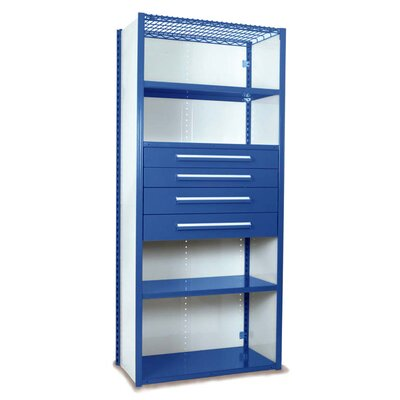 """V-Grip 84"""" Shelving with Drawers Unit - 4Drw/5Shelf Closed Starter, 4 drawers - (2) 4.5"""" & (2) 6"""" H; 400 lb capacity Finish: Textured Blue, Size: 84"""" H x 36"""" W x 18"""" D"""