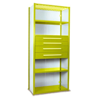 """V-Grip 84"""" Shelving with Drawers Unit - 4Drw/5Shelf Closed Starter, 4 drawers - (2) 4.5"""" & (2) 6"""" H; 400 lb capacity Size: 84"""" H x 48"""" W x 18"""" D, Finish: Textured Safety Yellow"""
