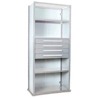 """V-Grip 84"""" Shelving with Drawers Unit Size: 84"""" H x 48"""" W x 18"""" D, Finish: Textured Light Gray"""