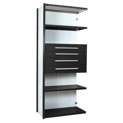 """V-Grip 84"""" Shelving with Drawers Unit - 4Drw/5Shelf Closed AddOn, 4 drawers - 3"""",4.5"""", 6"""", 7.5"""" H; 200 lb capacity Size: 84"""" H x 36"""" W x 18"""" D, Finish: Textured Black"""