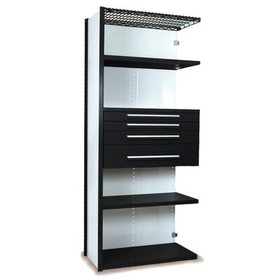 "V-Grip 84"" Shelving with Drawers Unit - 4Drw/5Shelf Closed AddOn, 4 drawers - (2) 3"", 4.5"" & 7.5"" H; 400 lb capacity Size: 84"" H x 36"" W x 24"" D, Finish: Textured Black"