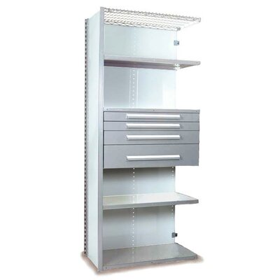 "V-Grip 84"" Shelving with Drawers Unit - 4Drw/5Shelf Closed AddOn, 4 drawers - (2) 3"", 4.5"" & 7.5"" H; 400 lb capacity Size: 84"" H x 36"" W x 24"" D, Finish: Textured Light Gray"