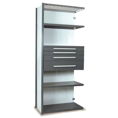 "V-Grip 84"" Shelving with Drawers Unit - 4Drw/5Shelf Closed AddOn, 4 drawers - (2) 3"", 4.5"" & 7.5"" H; 400 lb capacity Size: 84"" H x 36"" W x 24"" D, Finish: Textured Green"