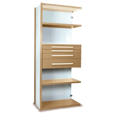 "V-Grip 84"" Shelving with Drawers Unit - 4Drw/5Shelf Closed AddOn, 4 drawers - (2) 3"", 4.5"" & 7.5"" H; 400 lb capacity Size: 84"" H x 36"" W x 24"" D, Finish: Textured Putty"