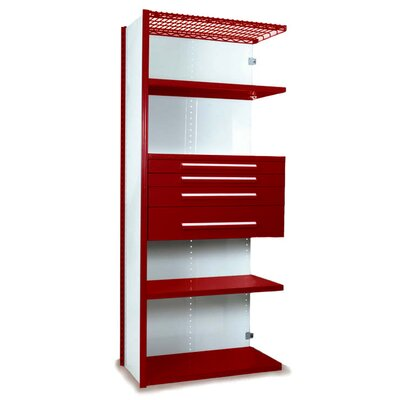 "V-Grip 84"" Shelving with Drawers Unit - 4Drw/5Shelf Closed AddOn, 4 drawers - (2) 3"", 4.5"" & 7.5"" H; 400 lb capacity Size: 84"" H x 36"" W x 24"" D, Finish: Textured Red"