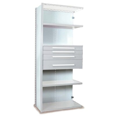 "V-Grip 84"" Shelving with Drawers Unit - 4Drw/5Shelf Closed AddOn, 4 drawers - (2) 3"", 4.5"" & 7.5"" H; 400 lb capacity Size: 84"" H x 36"" W x 24"" D, Finish: Smooth White"