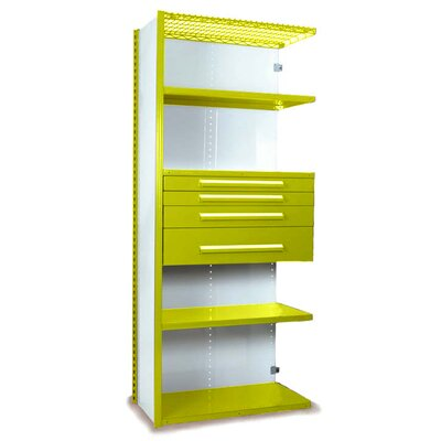 "V-Grip 84"" Shelving with Drawers Unit - 4Drw/5Shelf Closed AddOn, 4 drawers - (2) 3"", 4.5"" & 7.5"" H; 400 lb capacity Size: 84"" H x 36"" W x 24"" D, Finish: Textured Safety Yellow"