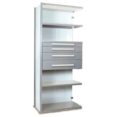 "V-Grip 84"" Shelving with Drawers Unit - 4Drw/5Shelf Closed AddOn, 4 drawers - (2) 4.5"" & (2) 6"" H; 400 lb capacity Size: 84"" H x 48"" W x 18"" D, Finish: Textured Green"