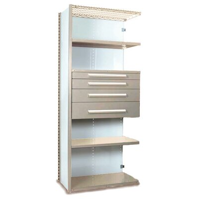 "V-Grip 84"" Shelving with Drawers Unit - 4Drw/5Shelf Closed AddOn, 4 drawers - (2) 4.5"" & (2) 6"" H; 400 lb capacity Size: 84"" H x 48"" W x 18"" D, Finish: Textured Putty"