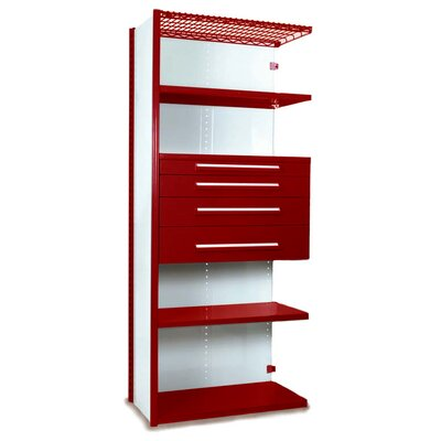 "V-Grip 84"" Shelving with Drawers Unit - 4Drw/5Shelf Closed AddOn, 4 drawers - (2) 4.5"" & (2) 6"" H; 400 lb capacity Size: 84"" H x 48"" W x 18"" D, Finish: Textured Red"