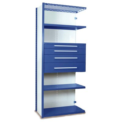 "V-Grip 84"" Shelving with Drawers Unit - 4Drw/5Shelf Closed AddOn, 4 drawers - (2) 4.5"" & (2) 6"" H; 400 lb capacity Size: 84"" H x 48"" W x 18"" D, Finish: Textured Blue"