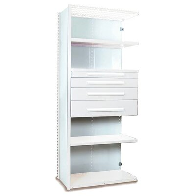 "V-Grip 84"" Shelving with Drawers Unit - 4Dr with 5 Shelf Closed AddOn Size: 84"" H x 36"" W x 18"" D, Finish: Textured Green"