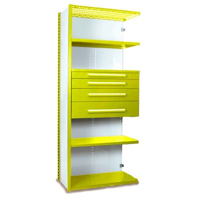 "V-Grip 84"" Shelving with Drawers Unit - 4Drw/5Shelf Closed AddOn, 4 drawers - (2) 4.5"" & (2) 6"" H; 400 lb capacity Size: 84"" H x 48"" W x 18"" D, Finish: Textured Safety Yellow"