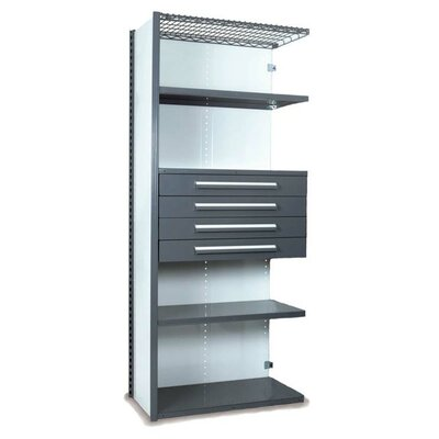 """84"""" H x 36"""" W x 24"""" D V-Grip 84"""" Shelving with Drawers Unit - 4Drw/5Shelf Closed AddOn, 4 drawers - (4) 4.5"""" H; 200 lb capacity Finish: Textured Green"""