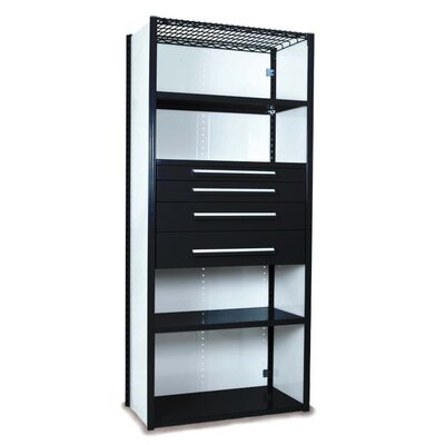 """V-Grip 84"""" Shelving with Drawers Unit - 4Drw/5Shelf Closed Starter, 4 drawers - 3"""",4.5"""", 6"""", 7.5"""" H; 400 lb capacity Finish: Textured Black, Size: 84"""" H x 36"""" W x 18"""" D"""