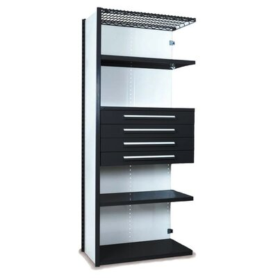 "84"" H x 36"" W x 18"" D V-Grip 84"" Shelving with Drawers Unit - 4Drw/5Shelf Closed AddOn, 4 drawers - (4) 4.5"" H; 200 lb capacity Finish: Textured Black"