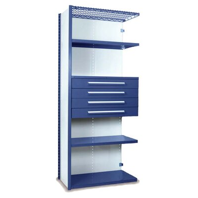 "84"" H x 36"" W x 18"" D V-Grip 84"" Shelving with Drawers Unit - 4Drw/5Shelf Closed AddOn, 4 drawers - (4) 4.5"" H; 200 lb capacity Finish: Textured Blue"